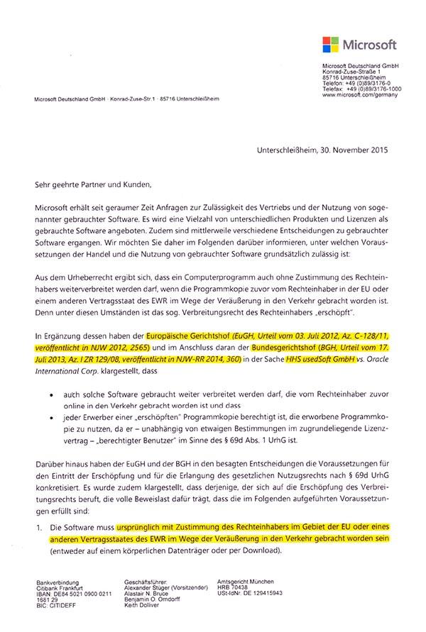 Microsoft Audit Vorgaben für gebrauchte Software nach EuGH und BGH ...