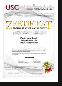 Unser Zertifikat garantiert Lizenz-Sicherheit wie vom Wirtschaftsprüfer verlangt! Nur im Anschluss an unsere Lizenz Audit Vorsorge SAM easyCheck oder easyCheck Refresh erhältlich.